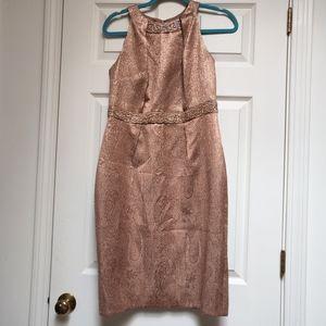 Carmen Marc Valvo Paisley Jacquard Beaded Dress 8